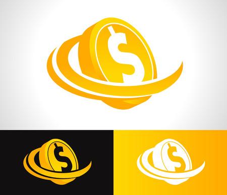 Dollar munt logo icoon met swoosh grafisch element