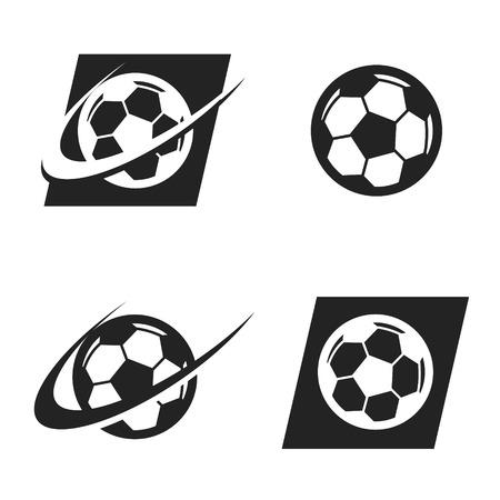 Voetbal bal embleempictogram met swoosh grafisch element