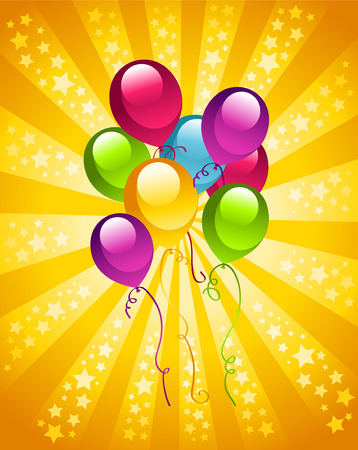 bursting: Colorful birthday card with party balloons