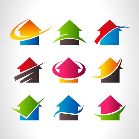 casa logo: Set di immobiliari casa icone logo