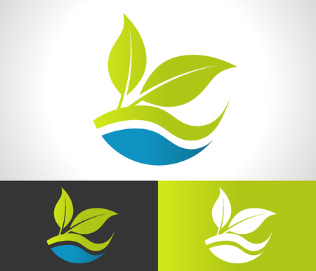 Green ecological logo with leaf icon