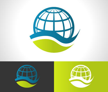 Green ecological logo with globe icon