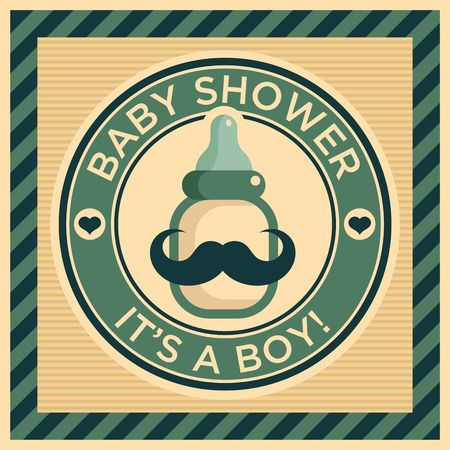 Baby shower greeting card with mustache baby bottle Illustration