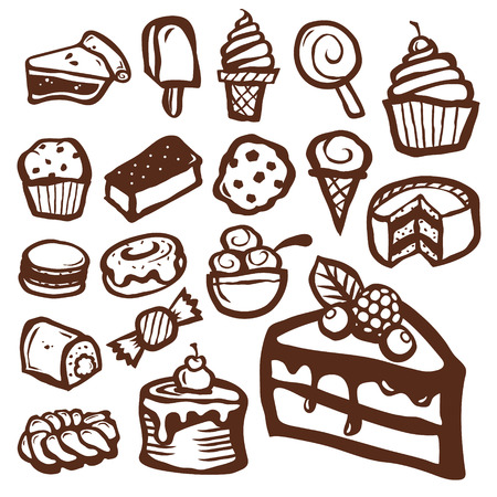 Set of dessert baking and sweet icons