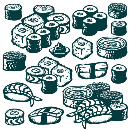 Set of various sushi illustrations isolated on white
