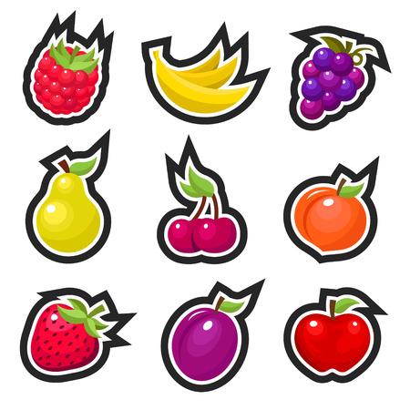 Set van kleurrijke vruchten pictogrammen