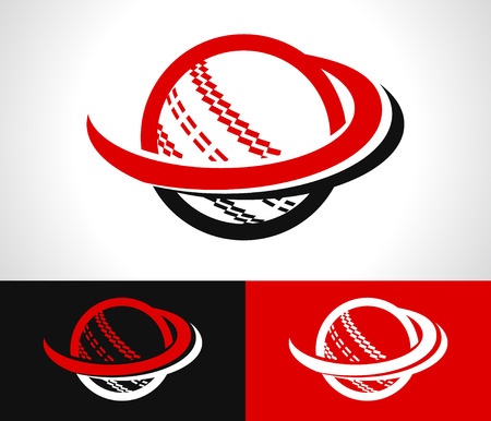 cricket: Cricket ball icon with swoosh graphic element