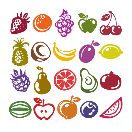 Set of fruit icons isolated on white