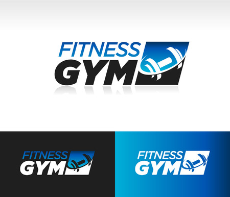 Gym fitness barbell logo icon with swoosh graphic element. Stock Photo