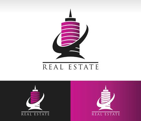 logo batiment: Un bâtiment moderne logo icône avec élément graphique swoosh Illustration