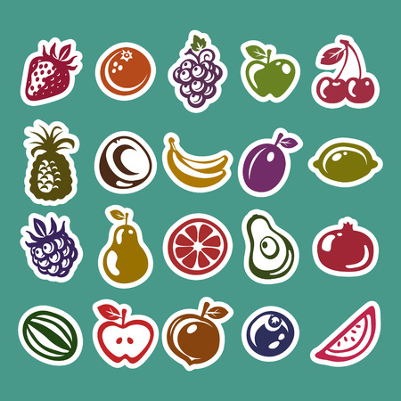 Set of colorful fruit sticker icons