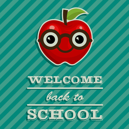 smart card: Back to school illustration with red apple cartoon with glasses