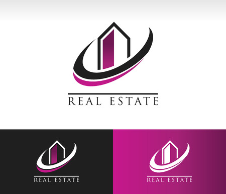 building loan: Modern building logo icon with swoosh graphic element