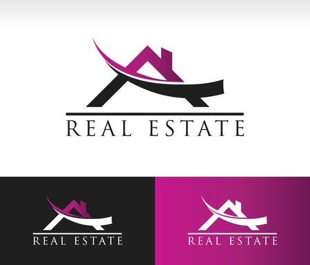 Real estate logo icon with roof and swoosh graphic element Vettoriali