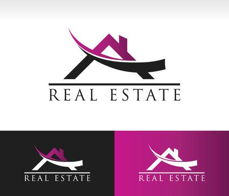 bienes raices: Inmobiliario Logo icono con techo y swoosh elemento gráfico