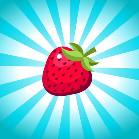 Strawberry afbeelding op barsten achtergrond Stock Illustratie