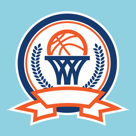 Retro basketball logo icon with net