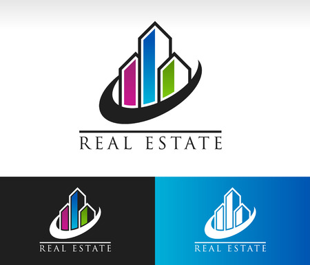Modern buildings logo icon with swoosh graphic element Vectores