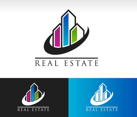 Moderne gebouwen logo icoon met swoosh grafisch element