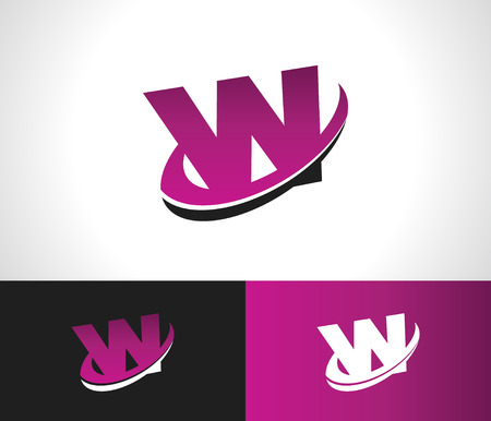Swoosh Alphabet logo icon with the letter W
