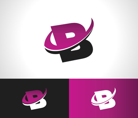 Swoosh Alphabet logo icon with the letter B