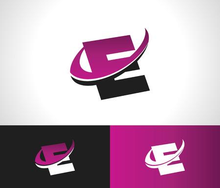 Swoosh Alphabet logo icon with the letter E Illusztráció