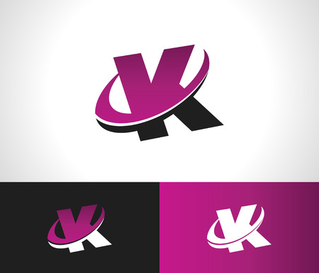 Swoosh Alphabet logo icon with the letter K