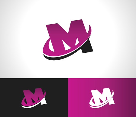 m: Swoosh Alphabet logo icon with the letter M