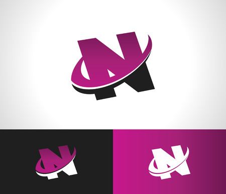 Swoosh Alphabet logo icon with the letter N