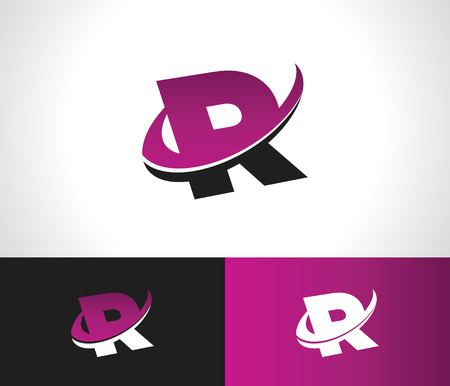 Swoosh Alphabet logo icon with the letter R
