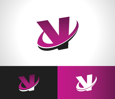 Swoosh Alphabet logo icon with the letter V