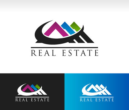 Real estate logo icon with swoosh graphic element Vettoriali