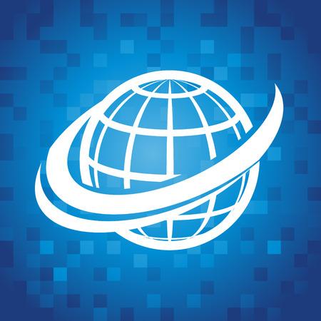 Globe swoosh icoon op blauwe pixel achtergrond Stock Illustratie