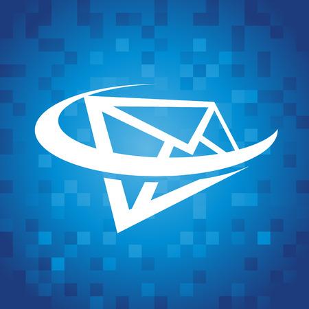 파란색 픽셀 배경에 봉투 된 swoosh 아이콘