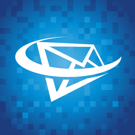 envelopes: Envelope swoosh icon on blue pixel background Illustration