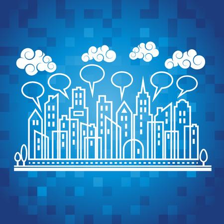 city background: Urban city illustration on blue pixel background Illustration