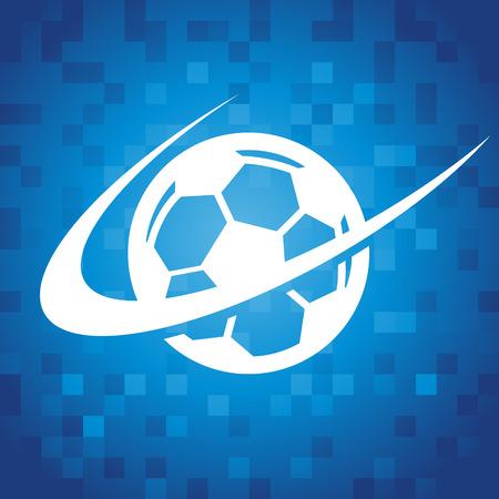 Soccer logo icon on blue pixel background