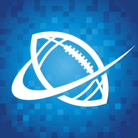 American football logo icon on blue pixel background