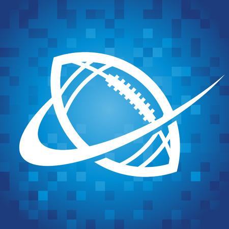 American football logo pictogram op blauwe pixel achtergrond