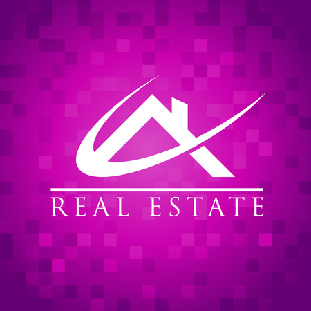 Real estate icon with roof on pixel background