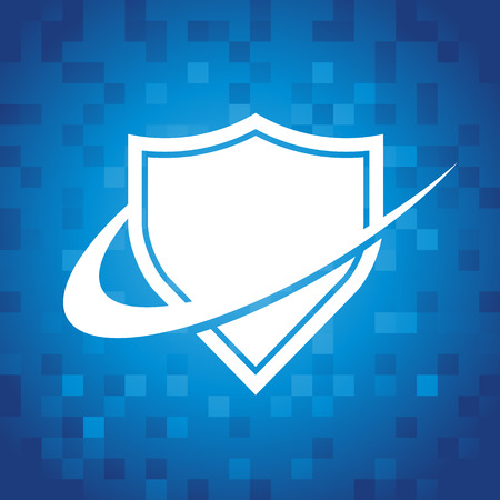 Swoosh shield icon on blue pixel background