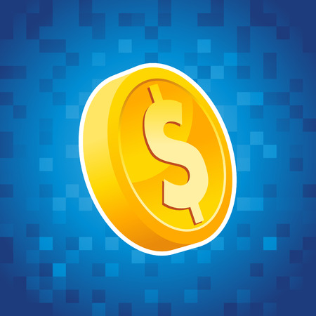 coins: Gold dollar coin on blue pixel background