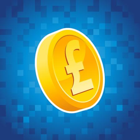 token: Gold pound coin on blue pixel background