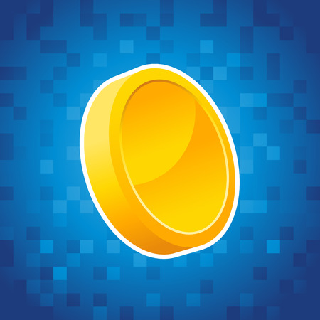 Gold coin on blue pixel background 向量圖像