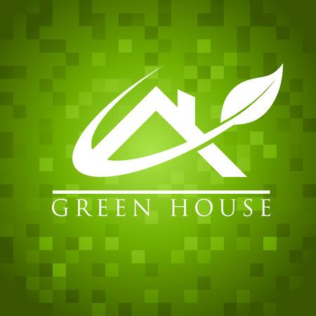 緑の家の屋根のアイコン