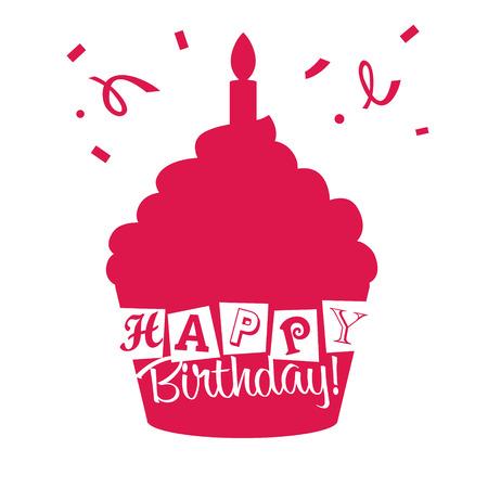 birthday invitation: Birthday invitation card with pink cupcake Illustration