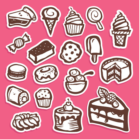 cone cake cone: Set of dessert baking and sweet sticker icons Illustration