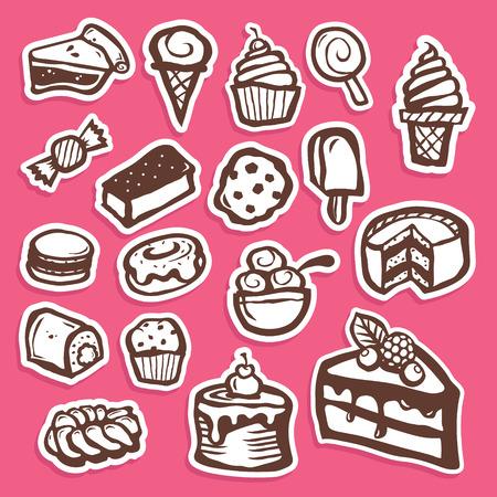Set of dessert baking and sweet sticker icons Illustration