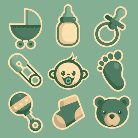 baby stickers: Set of blue baby shower icons
