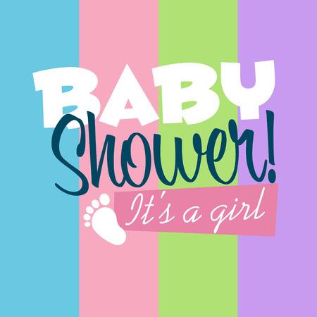 baby girl: Baby girl shower greeting card Illustration
